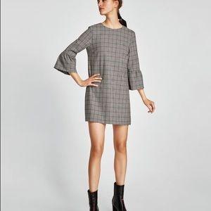 Zara plaid dress with ruffle sleeves